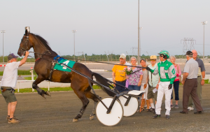 Fathers Amiga got frisky in the winner's circle for Gord Brown after winning at Kawartha on July 11.